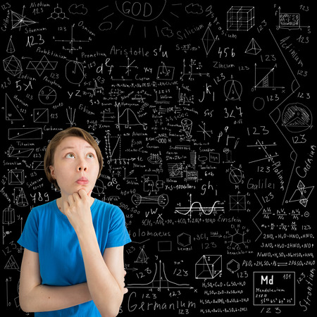 axiom: puzzled Caucasian teenage girl against blackboard with formulas and drawings