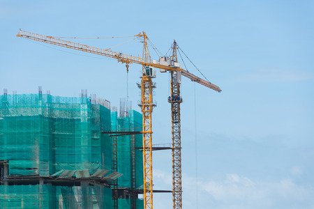 multistory: construction of multistory building or skyscraper in city