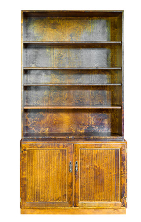 antiquarian: vintage wooden cupboard or bookcase, isolated on white