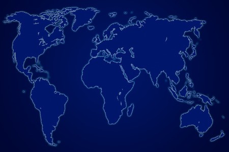 approximate: dark blue map of the world over orange, isolated