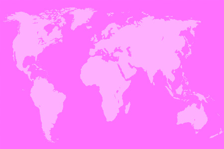 approximate: pink map of the world over orange, isolated