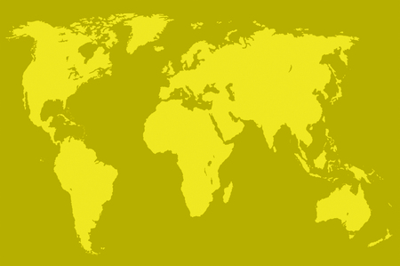 yellow map of the world over mustard, isolated Stock Photo