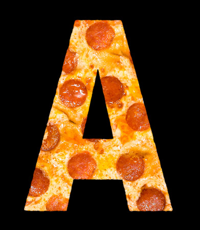 chr: letter A cut out of pizza with peperoni and cheese, isolated
