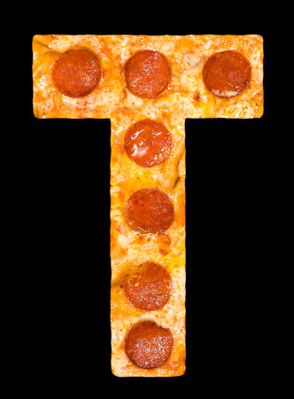peperoni: letter T cut out of pizza with peperoni and cheese, isolated
