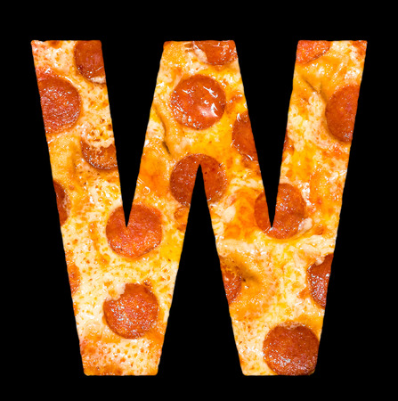 peperoni: letter W cut out of pizza with peperoni and cheese, isolated