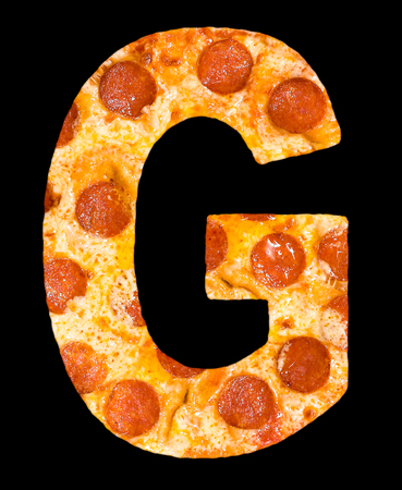 peperoni: letter G cut out of pizza with peperoni and cheese, isolated Stock Photo