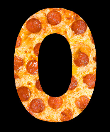 peperoni: letter O cut out of pizza with peperoni and cheese, isolated