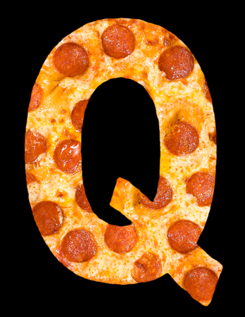 chr: letter Q cut out of pizza with peperoni and cheese, isolated Stock Photo