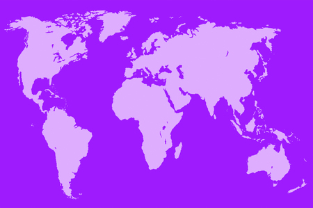approximate: violet map of the world over violet, isolated
