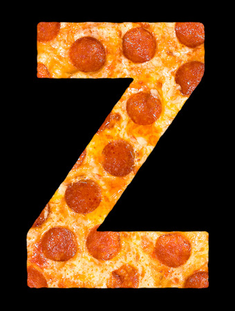 chr: letter Z cut out of pizza with peperoni and cheese, isolated