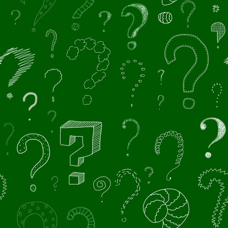 green board: lots of different question marks drawn with chalk on green board, seamless pattern
