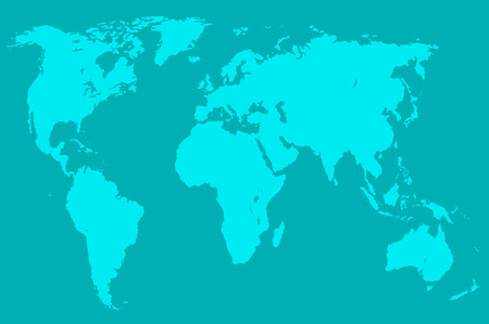 greenish blue: greenish blue map of the world over violet, isolated