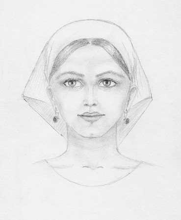 fictitious: Pencil portrait of young woman on paper, scan. Completely fictitious. Stock Photo