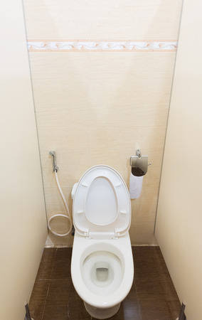 water closet: toilet bowl in airport water closet, wide angle view