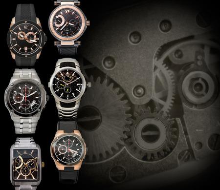 cronógrafo: seis hombres diferentes relojes contra el fondo de relojería