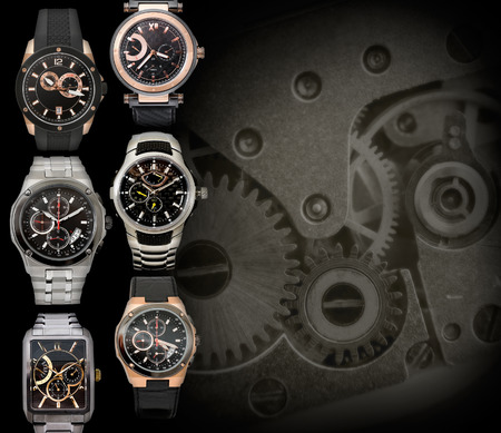 chronograph: six different mens watches against clockwork background