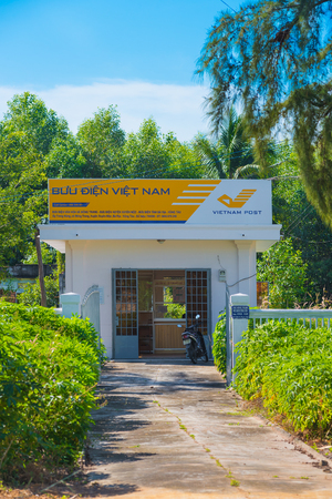 ria: BA RIA - VUNG TAU, VIETNAM - NOVEMBER 23, 2015: A post office in a small maritime town. Vietnam Post is a state operated organization. Editorial