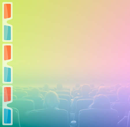motion picture: viewers watch motion picture at movie theatre, 3D glasses border
