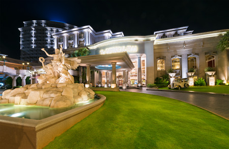facade: VUNG TAU, VIETNAM - JULY 7, 2015: The Imperial Hotel facade at night. The hotel complex is located at the back city beach popular among domestic tourists.