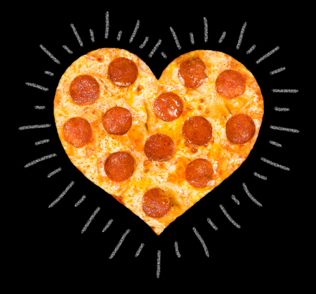 aureole: heart cut of pizza with peperoni and cheese, isolated