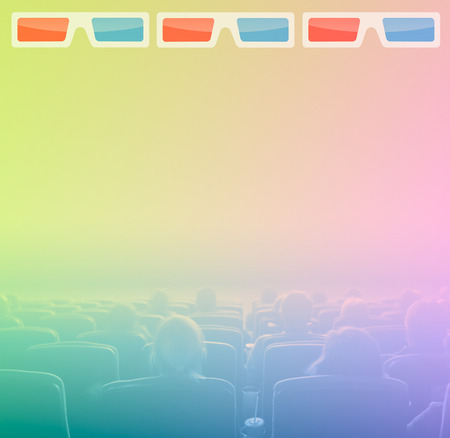 viewers: viewers watch motion picture at movie theatre, 3D glasses border