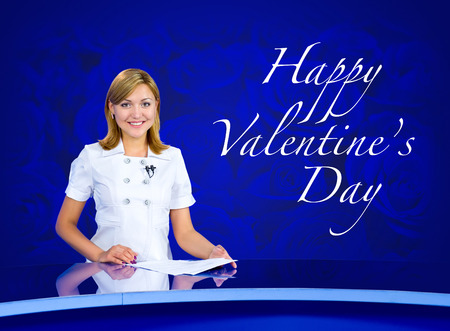 television anchorwoman at blue studio Happy Valentines Day photo