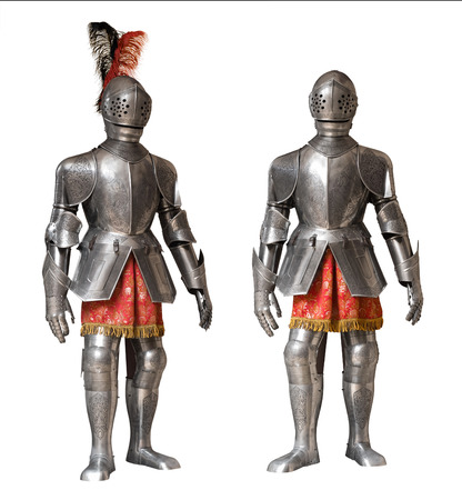 legging: two suits of knight armour isolated over white