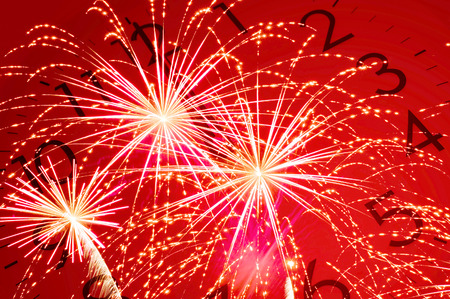 twelve: twelve oclock and red firework, double exposure Stock Photo
