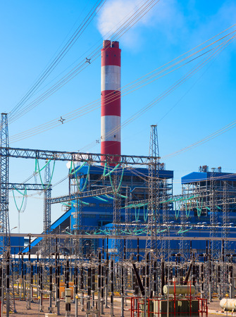 electric power station: electric power station against the blue sky Stock Photo