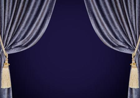 opalesce: grey blue curtains with supports and tassels over deep violet gradient Stock Photo