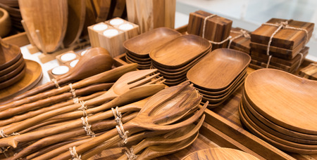 crockery: various bamboo crockery - plates, dishes, forks, spoons Stock Photo