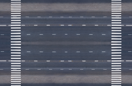 crossings: empty road with two pedestrian crossings, top view Stock Photo
