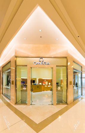 paragon: BANGKOK - MARCH 17, 2016 : An Omega store in Siam Paragon Shopping mall. Omega SA is a Swiss luxury watchmaker based in BielBienne, Switzerland, is owned by the Swatch Group.