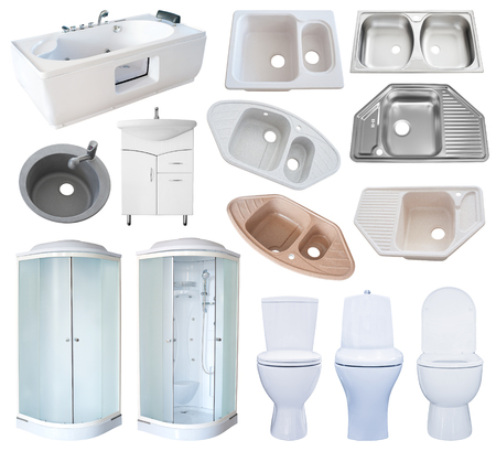 cubicle: a set of new bathroom equipment (sanitaryware), isolated over white