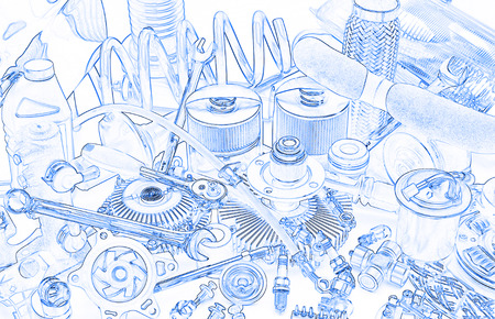 clutch cover: a lot of different car spare parts, rendered as sketch