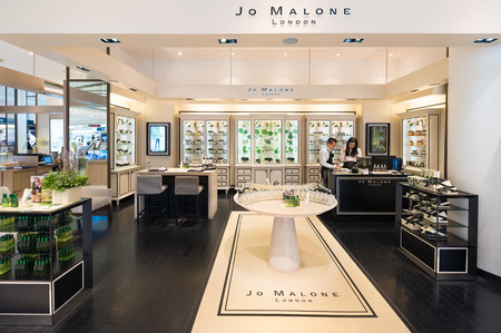 scented candle: BANGKOK - MARCH 17, 2016: Jo Malone London store at the Siam Paragon shopping mall. Jo Malone London is a British perfume and scented candle brand and owned since 1999 by Estee Lauder. Editorial