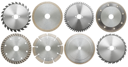 stainless steal: circilar saw blades for wodod and metal work, isolated