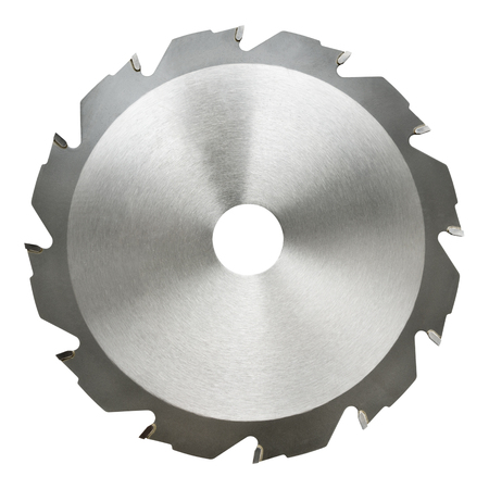 saw blade: circular saw blade for wood cutting, isolated Stock Photo