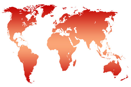 approximate: red gradient worlds map, isolated over white