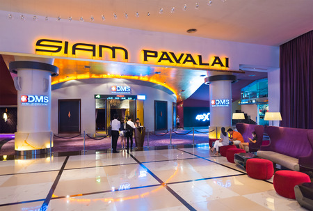 usher: BANGKOK - MARCH 17, 2016 : The Siam Pavalai Cinema, which means The Heaven of God of Siam, in the Siam Paragon shopping mall in Bangkok, Thailand, has a 24m screen in its largest auditorium.