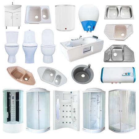 bathroom equipment: set of new bathroom equipment (sanitaryware), isolated over white Stock Photo