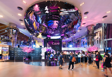 16 17: BANGKOK - MARCH 17, 2016 : Unidentified people buy tickets at Paragon Cineplex in the Siam Paragon shopping mall. With 16 screens and 5,000 seats, it is Thailands largest movie theater. Editorial