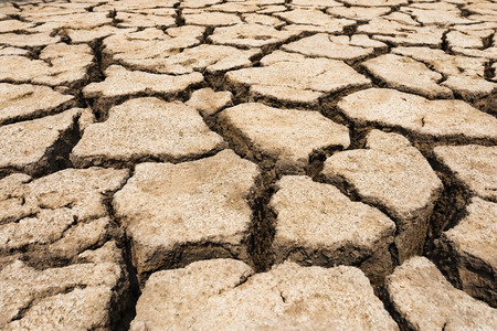 depletion: ground cracked with heat, wide angle view Stock Photo