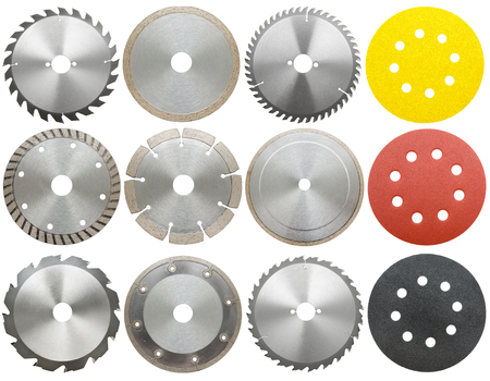 stainless steal: circilar saw blades for wood and metal work, isolated Stock Photo