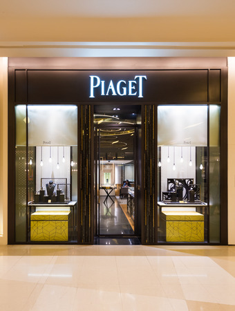 prestigious: BANGKOK - MARCH 17, 2016 : A Piaget SA store in Siam Paragon Mall. It is a Swiss luxury watch manufacturer founded in 1874. In 2008 Piaget was ranked as the 6th most prestigious jewellery brand. Editorial