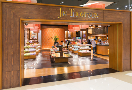 revitalize: BANGKOK - MARCH 17, 2016 : A Jim Thompson store in Siam Paragon mall. James Harrison Wilson Jim Thompson was an American businessman who helped revitalize the Thai silk industry in the 1950-60s.