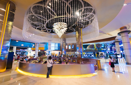 paragon: BANGKOK - MARCH 17, 2016 : A view of Krungsri IMAX Theater (Paragon Cineplex) in the Siam Paragon shopping mall. With 16 screens and 5,000 seats, the Cineplex is Thailands largest movie theater. Editorial