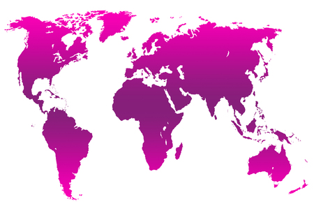 magenta gradient worlds map, isolated over white Stock Photo