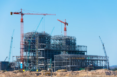 construction plant: construction of factory or plant - building of structure Stock Photo
