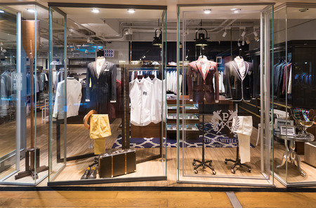 urban fashion: BANGKOK - MARCH 17, 2016: A view at the Gin and Milk store of mens clothing in the Siam Center. It was built in 1973 and was one of Bangkoks first shopping malls. Editorial